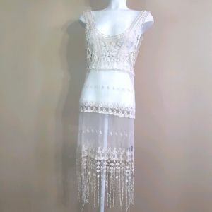 Suzy Shier | crochet and lace fringe cover up